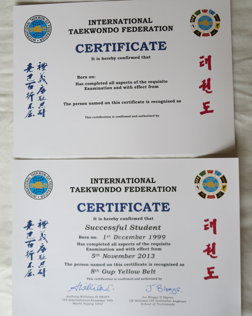 Itf certificates taekwondo supplies itf certificates xflitez Gallery