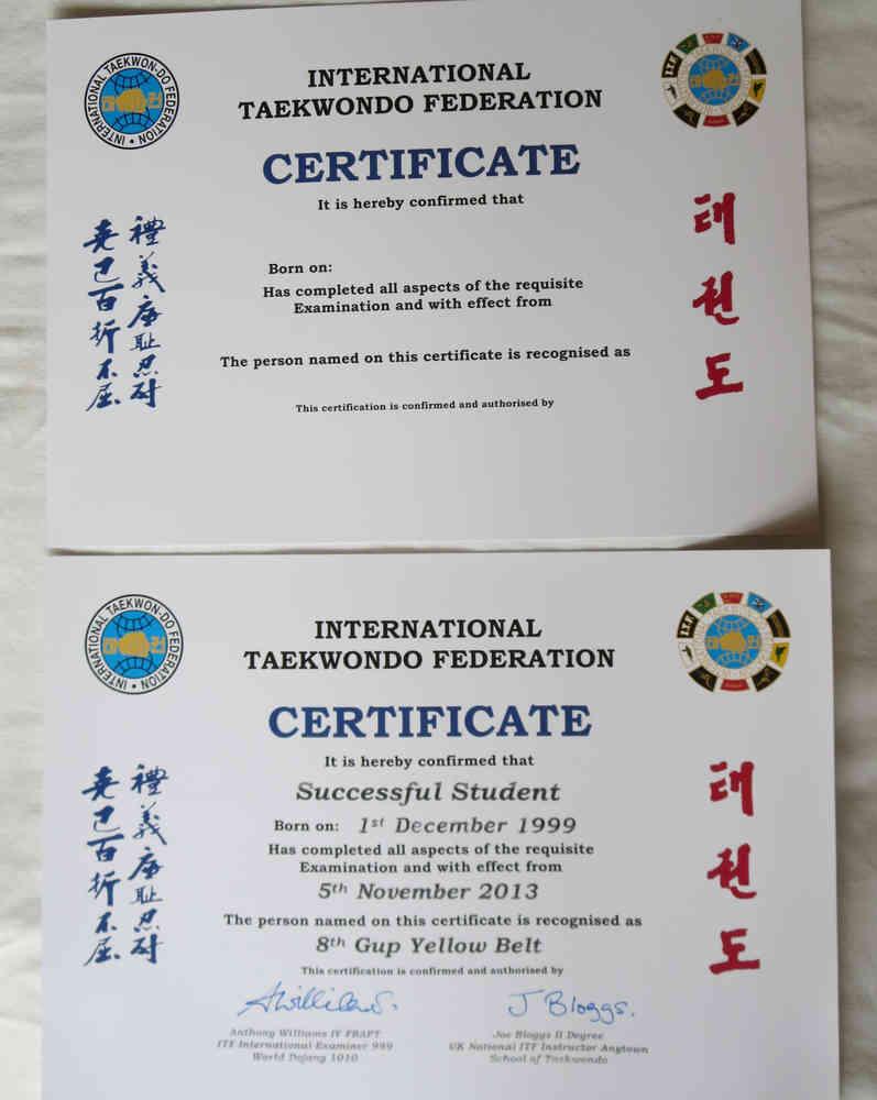 Itf certificates taekwondo supplies itf certificates alramifo Choice Image
